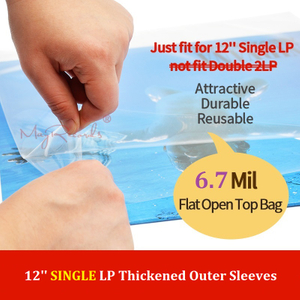 25 Flat Open Top Bag 6.7 Mil Strong Cover Plastic Vinyl Record Outer Sleeves for 12'' SINGLE LP (Not Fit Double 2LP)