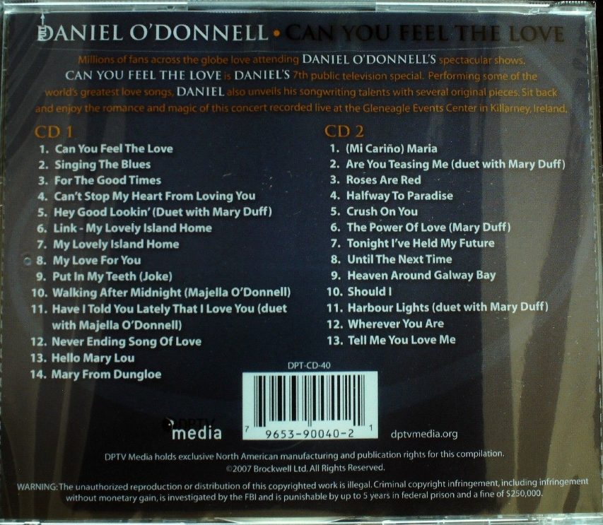 Daniel O'Donnell - Can You Feel The Love 2CD New Sealed
