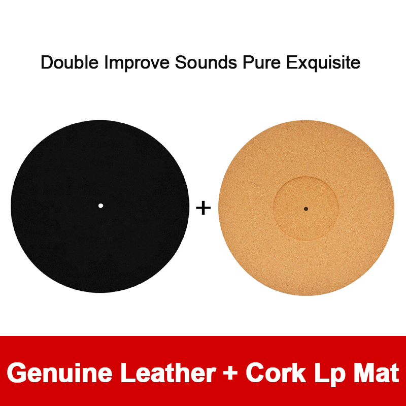 12'' Black Genuine Leather + Cork Turntable LP Mat Hide in the Sound