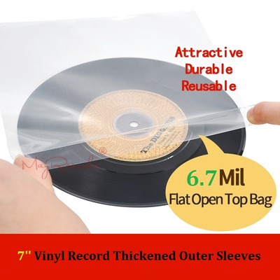 50PCS 7'' Vinyl Record 6.7Mil Flat Open Top Protect Bag Strong Outer Sleeves